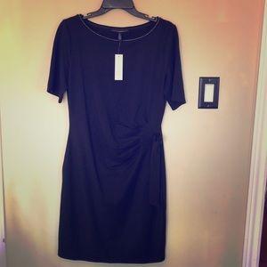 BOGO WHBM black dress ruched waist boat neck NEW
